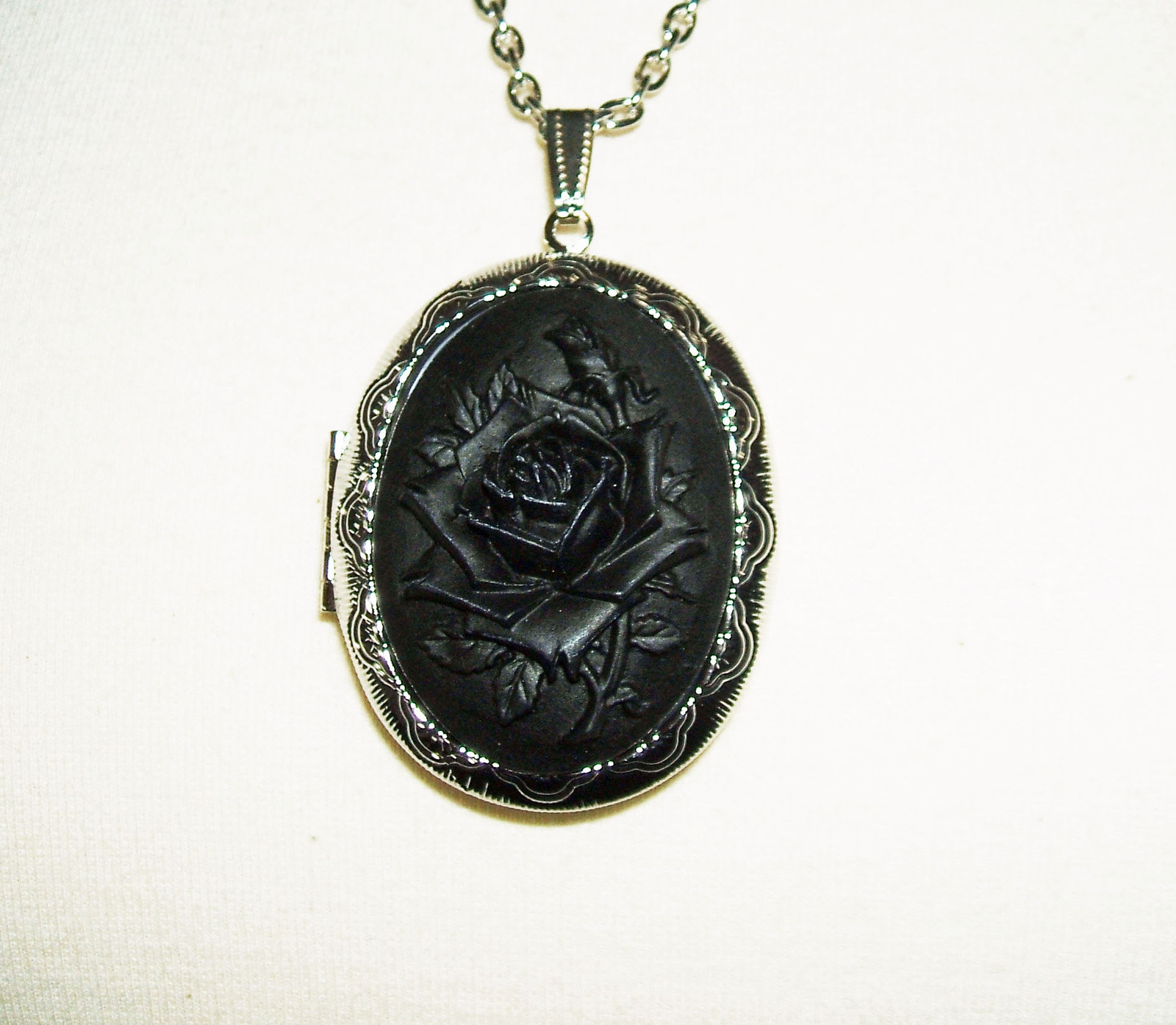 Black rose cameo necklace locket pendant victorian mourning goth black rose cameo necklace locket pendant victorian mourning goth design aloadofball Choice Image